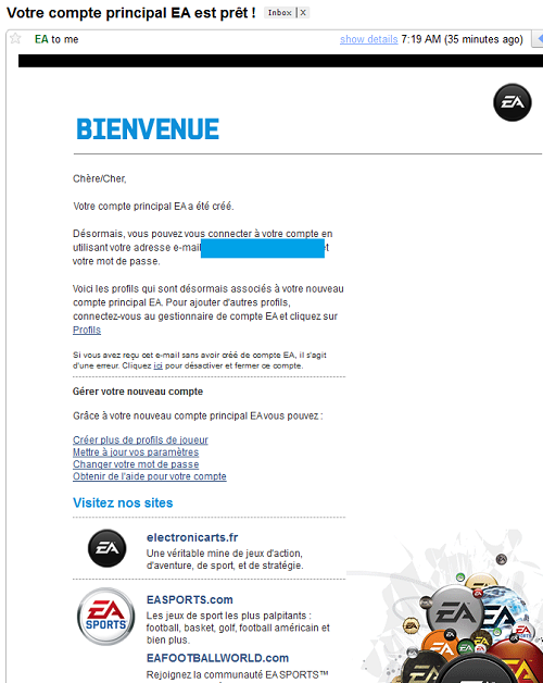 Mailing reçu de Eletronic Arts