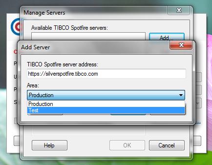 Tibco Spotfire - 6 - Ecran de gestion des serveurs