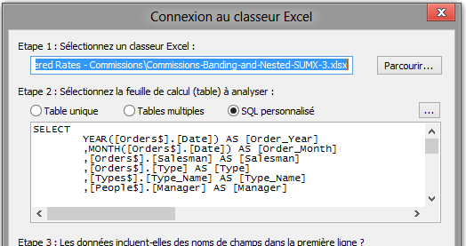 Connection à un fichier Excel en SQL