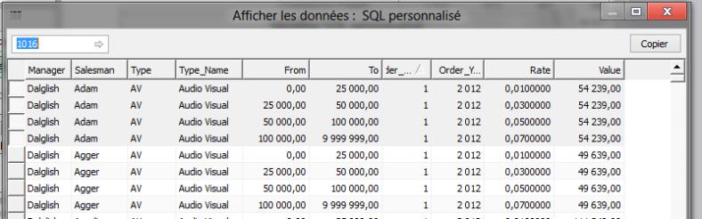 Dataset retourné par la requête SQL sur le fichier Excel source