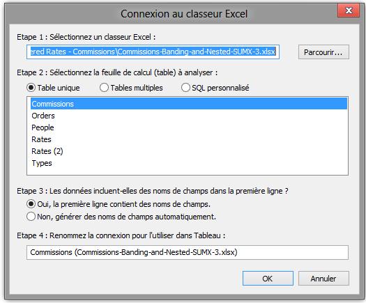 Première connection à Excel