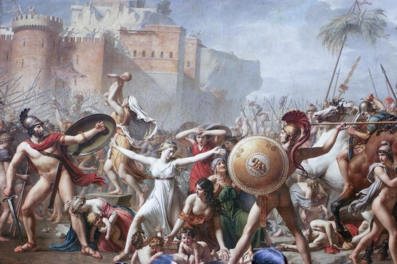 """Tableau """"Les Sabines"""" par Jacques-Louis David - Une bataille de l'antiquité avec des gens tout nus"""