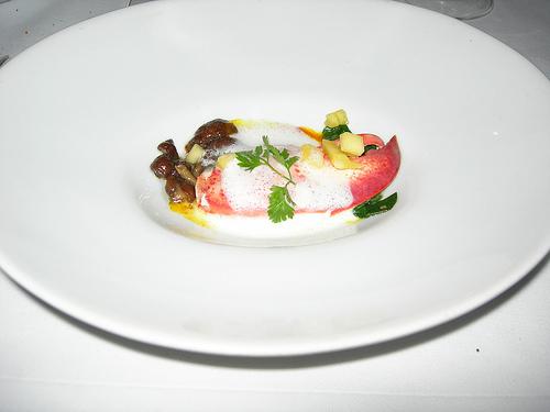 Un tout petit plat gastronomique dans une grande assiette