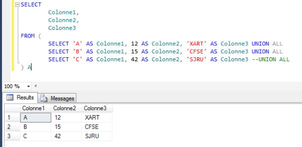 La requête SQL en résultat