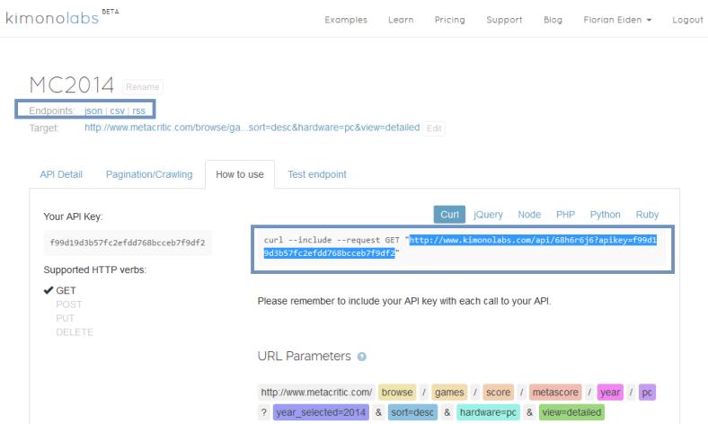 Kimono Labs : Interface d'appel de l'API