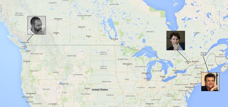 Carte du Canada et ses principaux leaders